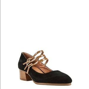 Shellys London Mary Janes black suede tan gold
